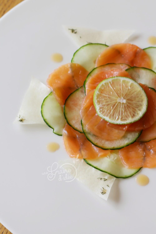 Fleur de Concombre au Saumon Fumé Citronné - Une Graine d'Idée