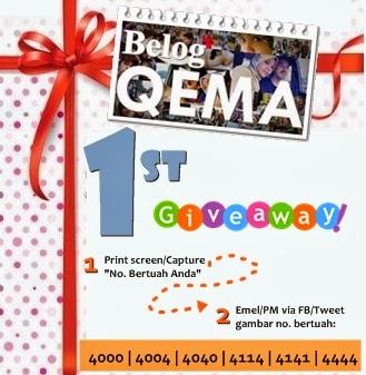 Belog Qema 1st Giveaway Mencari 6 Orang yang Bertuah!