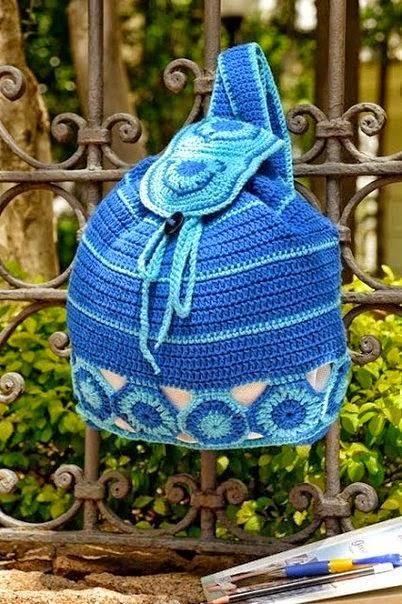 Moldes y esquemas de mochila tejida con ganchillo