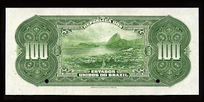 Brazil Currency money Mil Reis banknote bill Rio de Janeiro