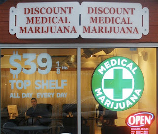 Medical marijuana dispensary store front. 