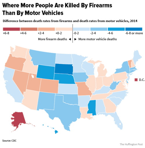 Where more people are killed by firearms than by  motor vehicles?