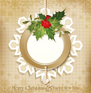 クリスマスリースのテキストフレーム Text frame of Christmas wreath イラスト素材