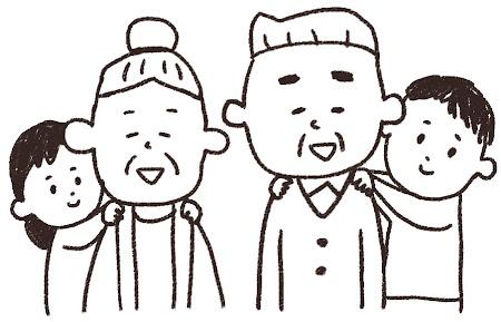 敬老の日のイラスト「孫とおじいさん・おばあさん」 線画