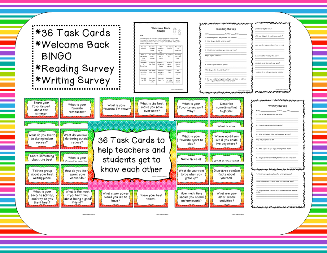 http://www.teacherspayteachers.com/Product/Getting-to-Know-You-Task-Cards-Surveys-BINGO-815932