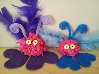 Pom-Pom Love Bugs craft, kids crafts, Valentines Day crafts