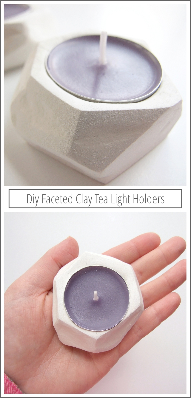 How to make your own diy faceted clay tea light holders.