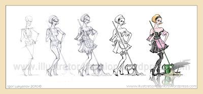 dessin de mode (dressage soubrette)