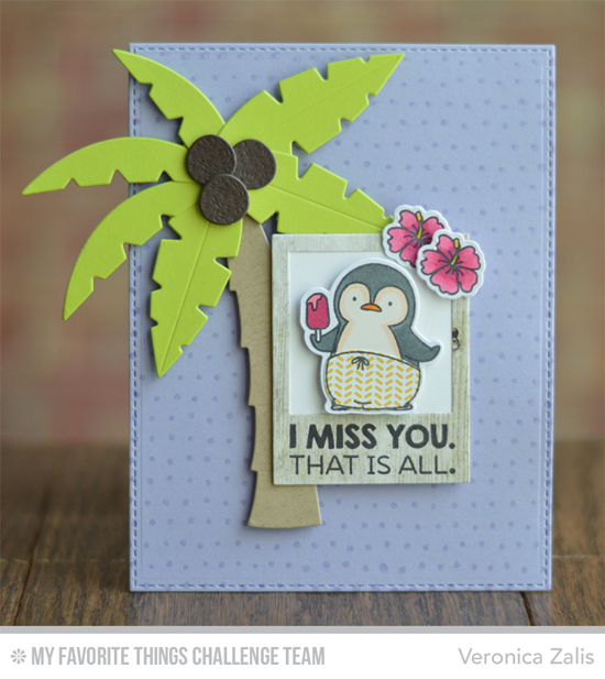 Penguin Polaroid Card by Veronica Zalis featuring the Birdie Brown Penguins in Paradise stamp set and Die-namics and the Palm Tree Die-namics #mftstamps