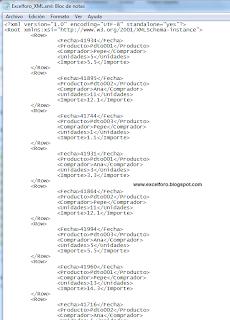 Importando - Exportando datos en XML con Excel.