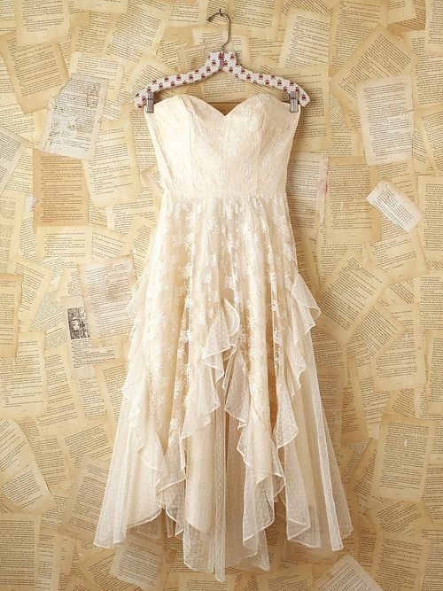 Lovable Vintage White Lace Strapless Dress