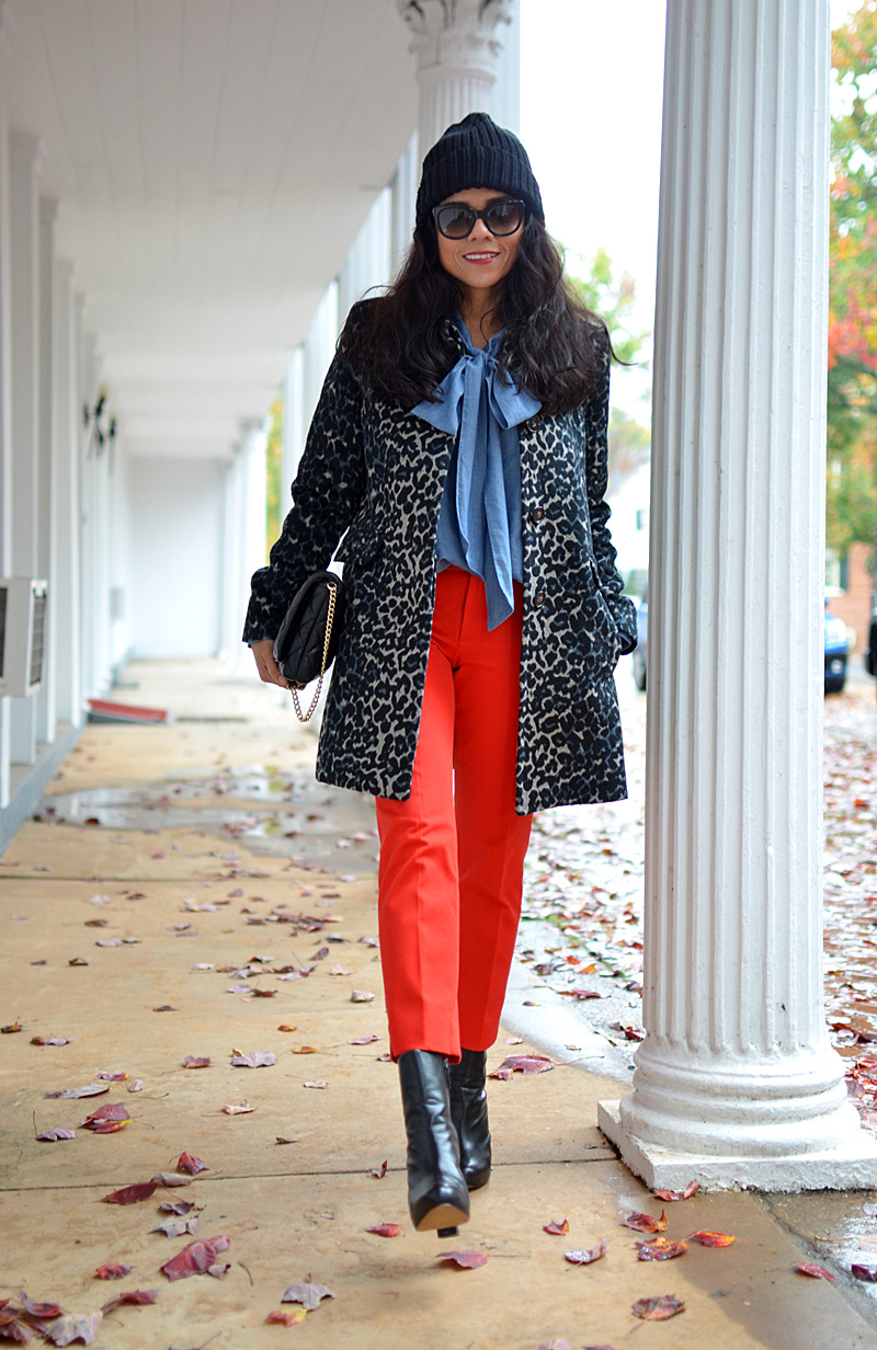 Orange and leopard street style