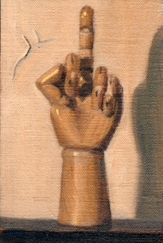 Oil painting of a wooden artist's model hand, facing away from the viewer, with the middle finger extended.