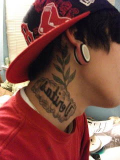 leaf tattoo design on neck