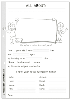 "Worksheet ""Alla about me"" English  kids ESL"