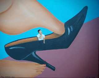 A man trapped inside a woman's shoe whilst she's dangling it
