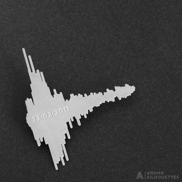 Aroha Silhouettes Christchurch Earthquake 6.3 Brooch
