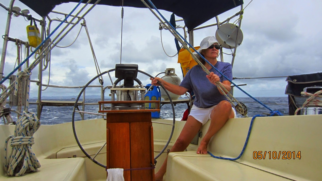 Ginger at the helm, on our way to St. Barths