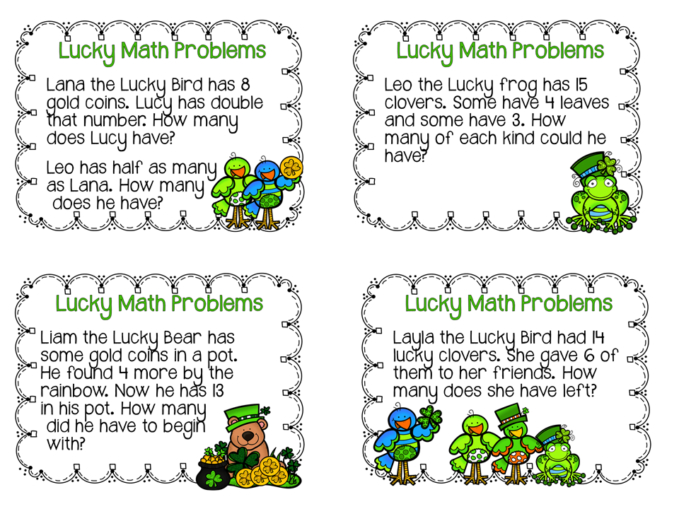 http://lookingfromthirdtofourth.blogspot.com/2015/03/lucky-math-problems.html