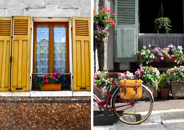 Chatillon-Coligny, shutters, France