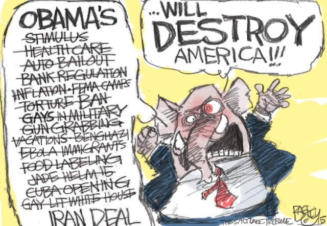 Republican elephant shouting litany of Obama policies that Republicans claim will destroy the nation, but did not, have not, will not.