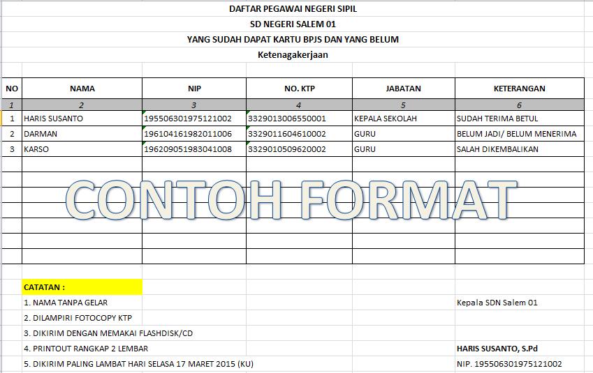 Format Laporan BPJS