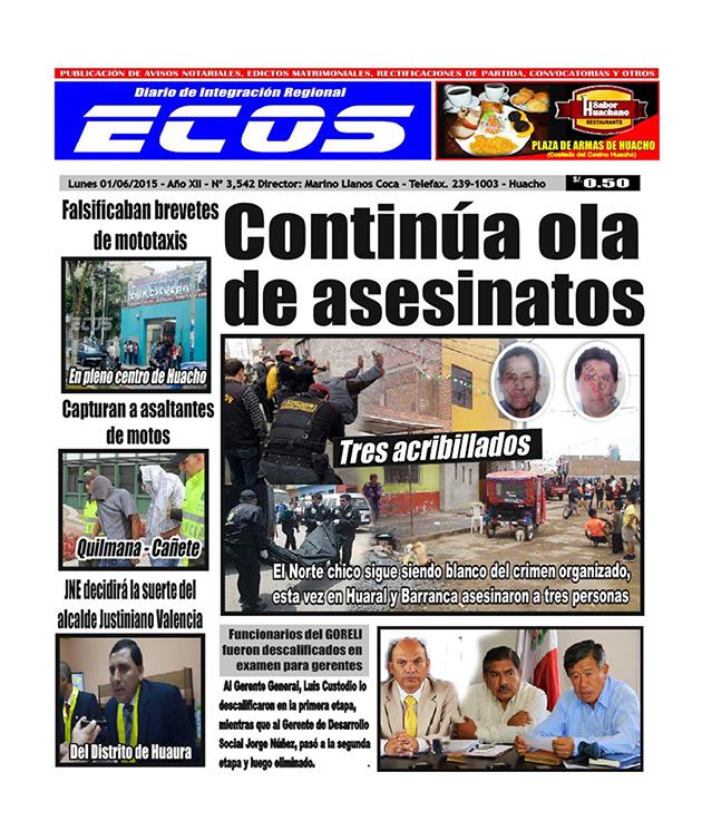 Esta es la edición del Diario ECOS lunes 01 de junio del 2015