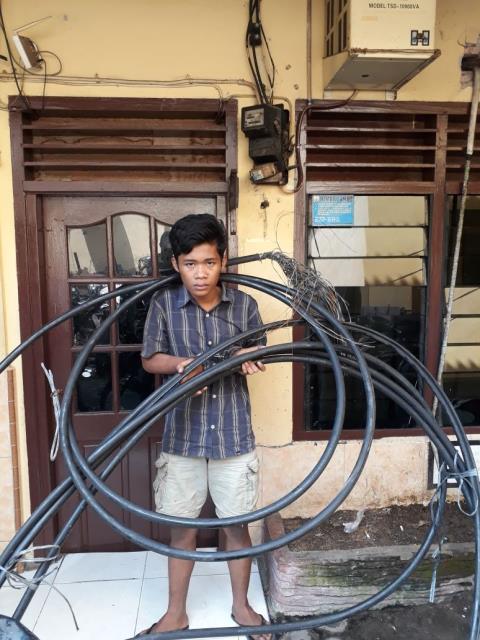 Tim Pegasus Polsek Patumbak Amankan Pelaku Curat Kabel Telkom