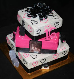 3 tier black and pink sweet 16 cake