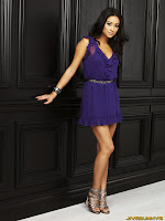 Shay Mitchell in Pretty Summer Flower Purple Sleeveless Mini Dress Fashion Model Photoshoot Session