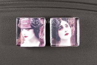 Flower Ladies Glass Tile Magnets
