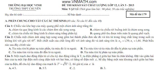 de thi thu dai hoc lan 3 mon hoa ly dai hoc vinh 2013
