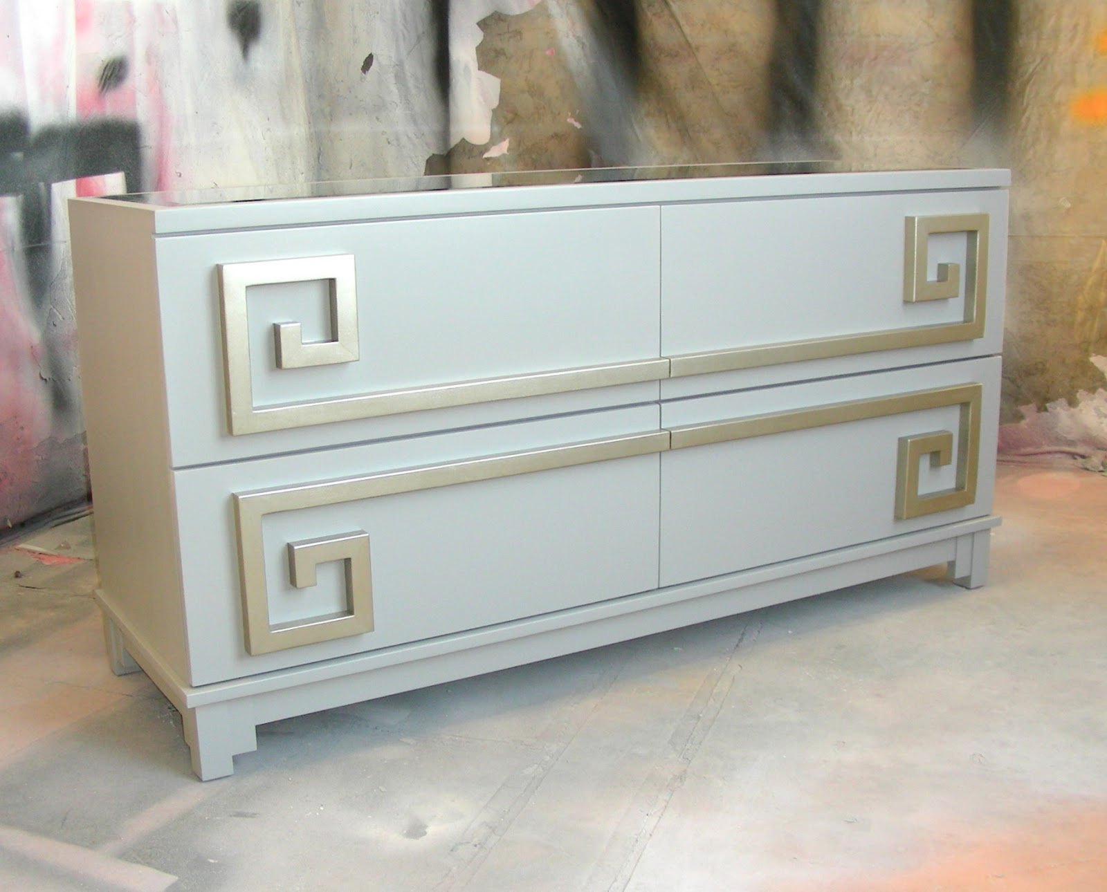 Gray Blue Cabinet With Silver Greek Key Pulls
