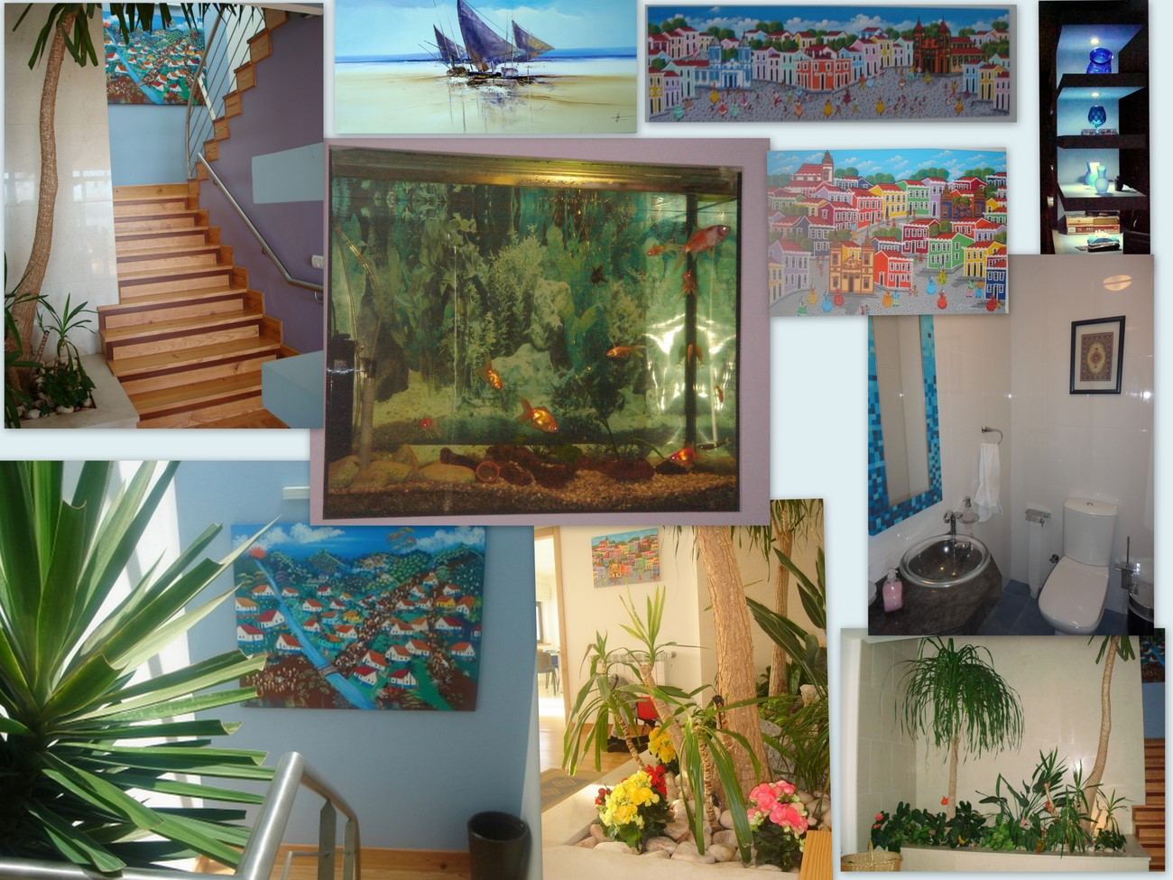 living room&#39;s built-in-fish-tank, WC, interior garden, artwork