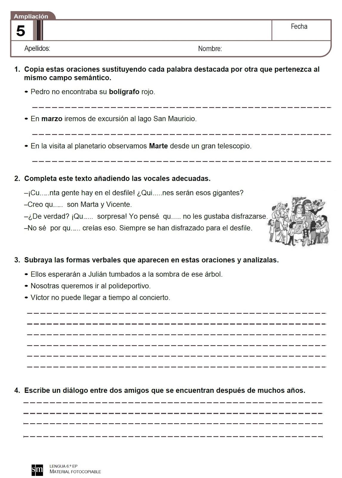 Fichas repaso del tema 5 de Lengua