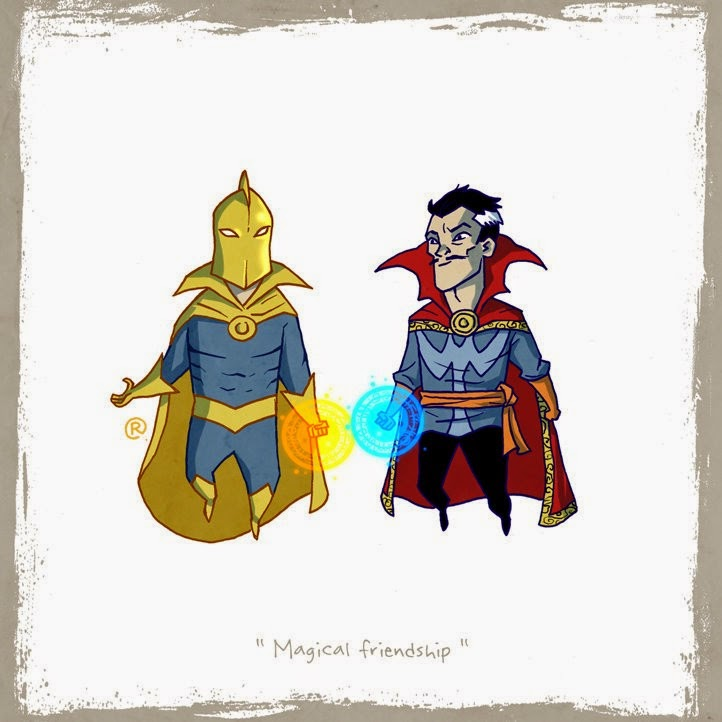 Dr. Fate and Dr. Strange comparing magic.
