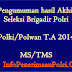 Pengumuman Hasil Akhir Brigadir Polri MS/TMS Polki/Polwan