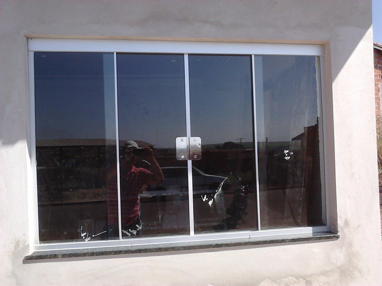 #4A5D81 Janela (1 00 x 1 50) com vidro Incolor 08mm temperado Perfil de  1716 Janela De Aluminio Nao Fecha