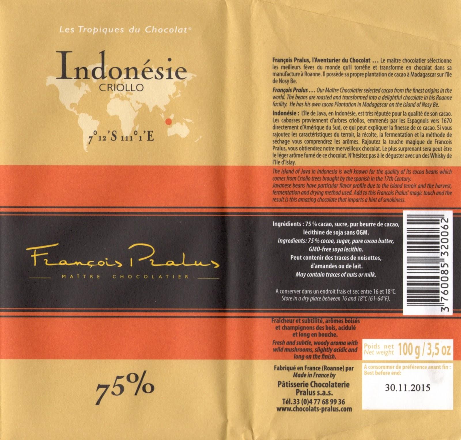 tablette de chocolat noir dégustation pralus noir indonésie criollo 75