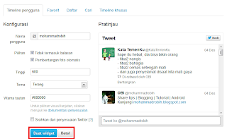 Membuat Widget Twitter di Blog