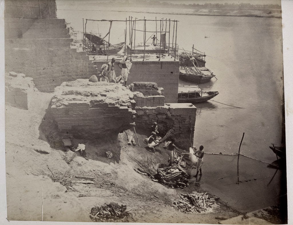 Cremation on the Banks of the Ganges River - c1880's