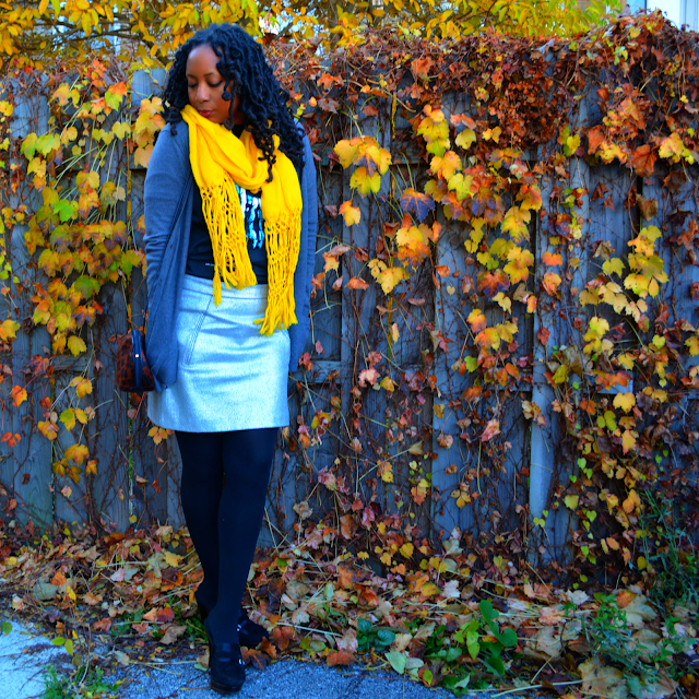 black grey silver and yellow outfit ideas