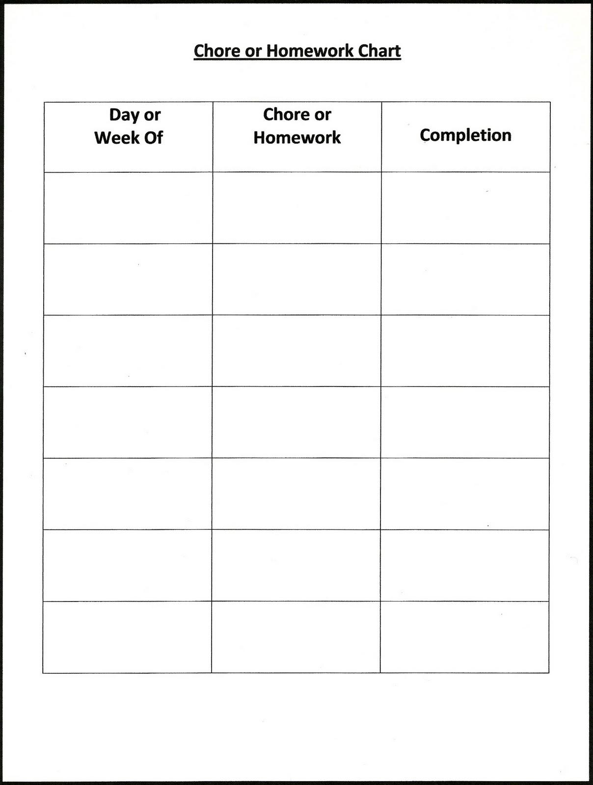 Printable childrens chore homework chart