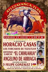 Casas, El Chihuahua y De Arriaga, anunciados en Atltzayanca, el 25/07.