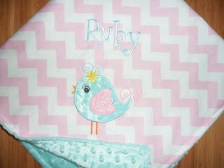 Birdie -Custom Monogrammed Baby Bird Minky Blanket - Pink Chevron with Aqua Minky