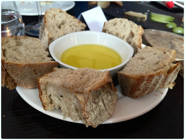 Warm bread with olive oil