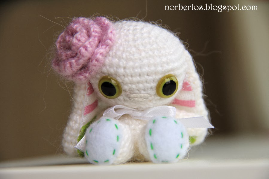 Crochet bunny with pink flower Sweet crocheting time