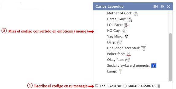 De Memes En Su Chat De Facebook  Tan Solo Debes Escribir El C  Digo Y