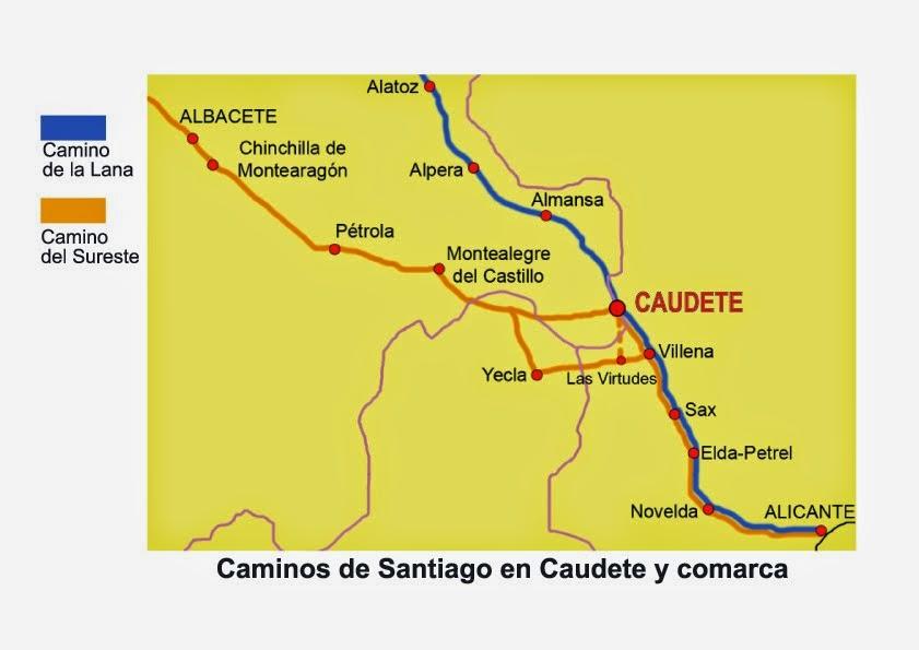 MAPAS DE LOS CAMINOS DE SANTIAGO EN CAUDETE: COMARCA, PROVINCIA DE ALBACETE Y CASTILLA LA MANCHA