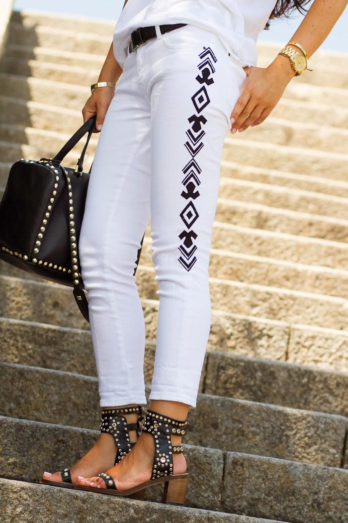 Jeans bordados inspiración Isabel Marant